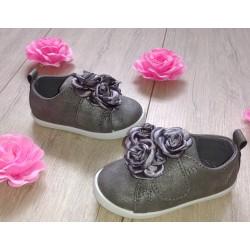 Ciemno szare buciki dziecięce z kwiatkami r. 19