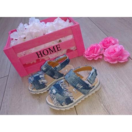 Jeansowe sandałki dla małej księżniczki r. 19, 22, 24