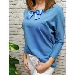 Niebieska bluzeczka z kokardką pasuje na S/M/L