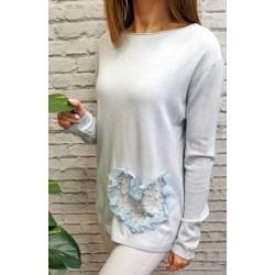 Sweterki z sercem i perełkami różne kolory rozm. S/M L/XL