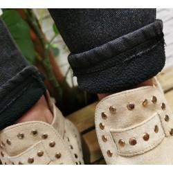 Ocieplane spodnie ala jeansy rozm. S/M M/L L/XL czarne niebieskie