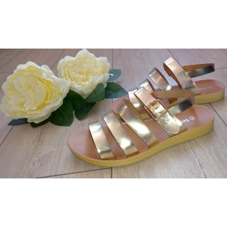 Złote sandałki na paseczki