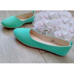 miętowo zielone balerinki