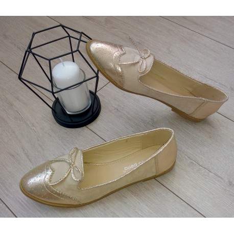 Złote balerinki z kokardką