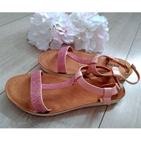 Różowe sandałki z cekinami